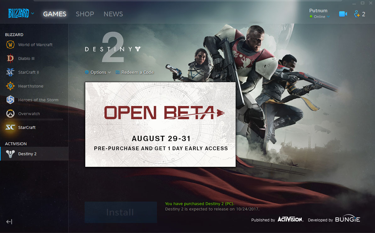 Destiny 2 Blizzard App