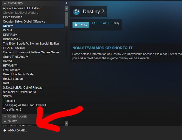 Add a game Destiny 2 through Steam