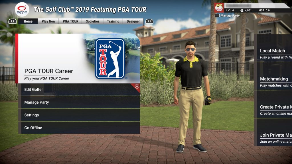 The Golf Club- Main Menu